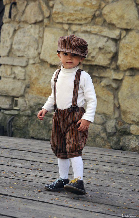Boys tartan clothing set Boys newsboy cap Baby boy by Nastiin