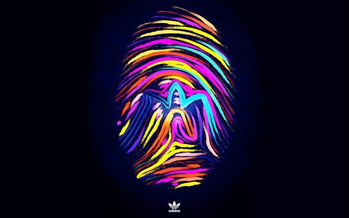 logo, creative, Adidas Basketball, fingerprint