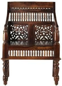 "Hand carved Maharaja Chair, 33""HX25""W, WALNUT"