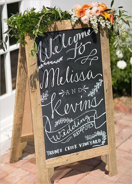 Deck out a wooden chalkboard with wildflowers and greens, then put your personal message on it. This easy DIY takes no time at all!