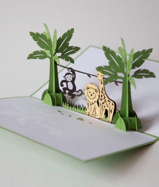 Jungle Animals Pop Up Baby Card