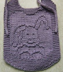 Hippity Hop Bib - cute spring bunny could sit on the back of cardi or on a baby blanket or on a wash-cloth