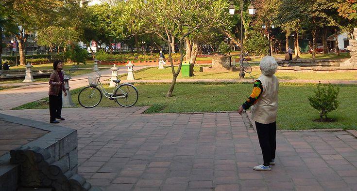 Park at the Temple of literature in Hanoi. #hanoi #park #fun #badminton #travel #senior #vietnam