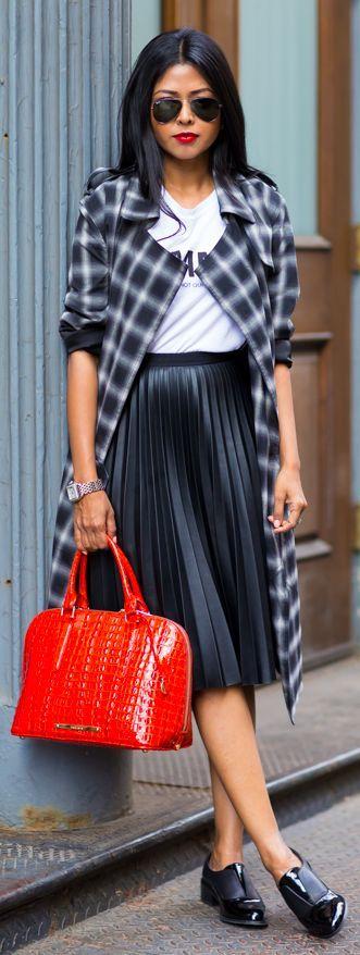 Shiny Black Pleated Midi Skirt by Walk In Wanderland