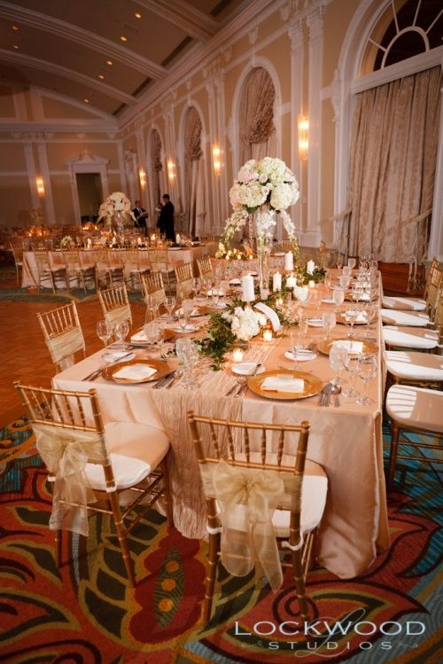 Tablecloths   Kate Ryan Linens Champagne Taffeta Banquet Tablecloths With  Pale Champagne Crushed Taffeta Table Runners