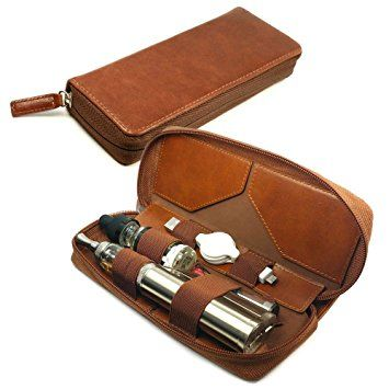 Tuff-Luv Vintage Personalisierte Tasche Hülle (z.B Ihr Name, andere Name, Inschrift) E-Cig Vape-Pen-Weinlese-Leder-Luxury Travel Schutzhülle Vape Pen Box Mod & Refill Halter - Braun
