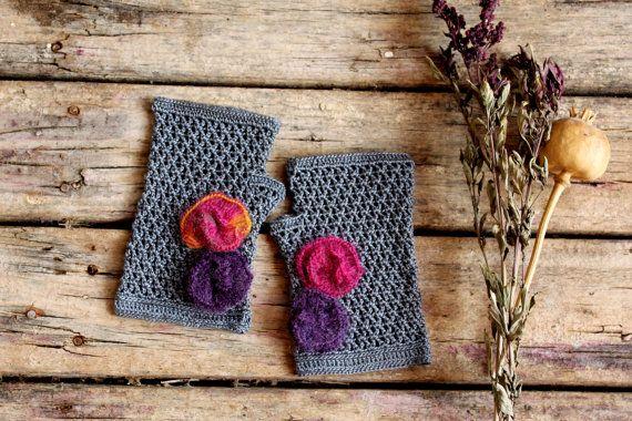 Dark Grey Crochet Fingerless Gloves . Gift Guide . by gloveshop, $35.90