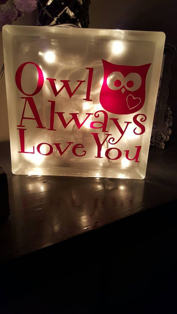 Owl always love you Valentines day glass block by JennDesignz
