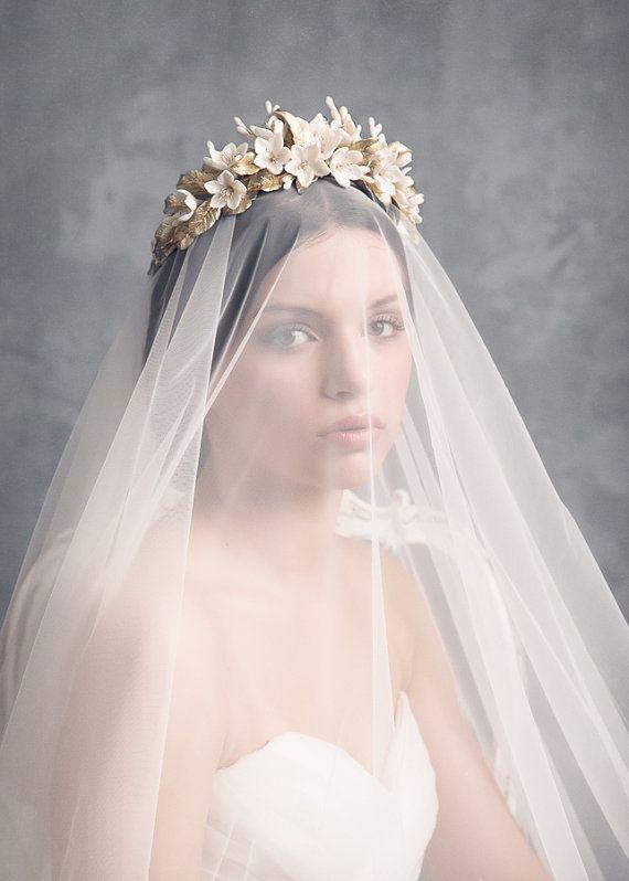 Jasmine bridal crown. Wedding floral crown. by LenaRomHeadpieces