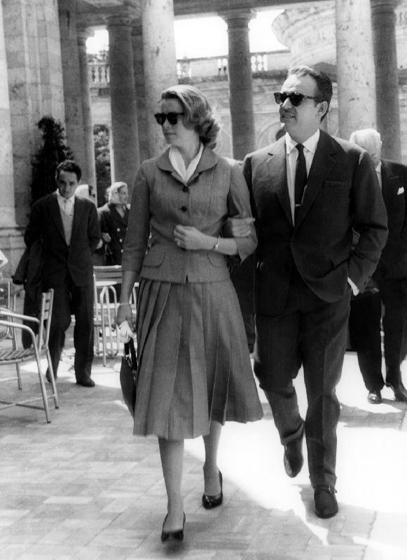 Montecatini Terme, Tuscany, Italy, May 1957 — Grace and Rainier of Monaco.