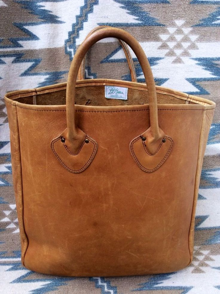 Vintage 1960s LL Bean Script Tag Leather Shopping Tote Bag Made In USA