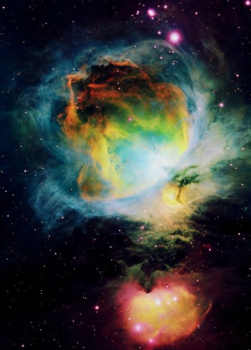 Photographs of outer space and our universe. This is the Orion Nebula.