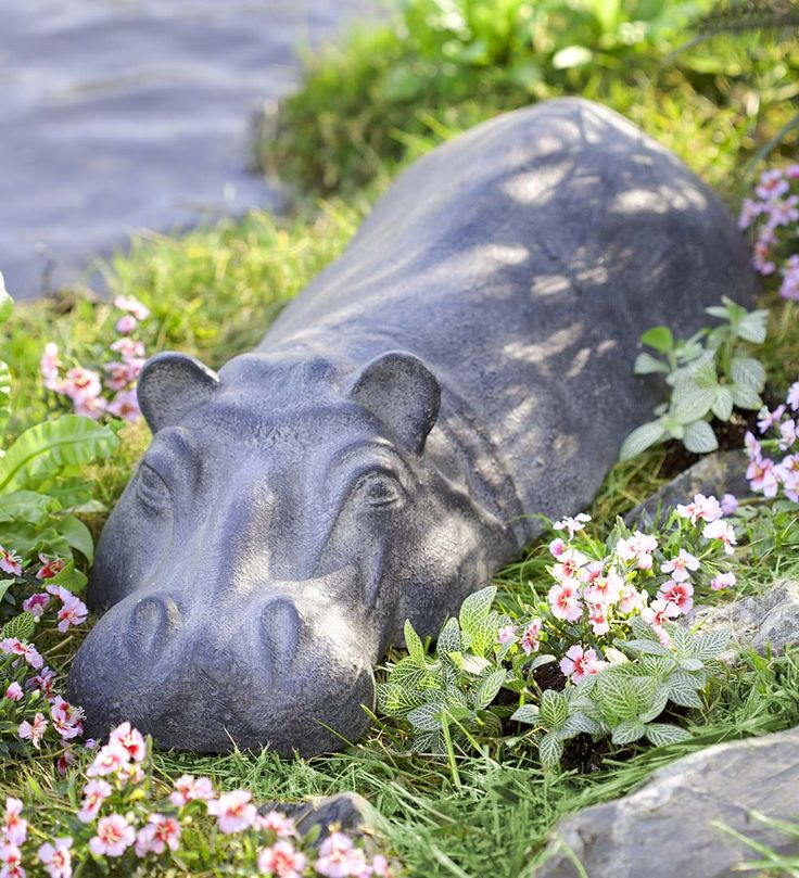 Swimming Hippo Garden Sculpture in Garden Statues