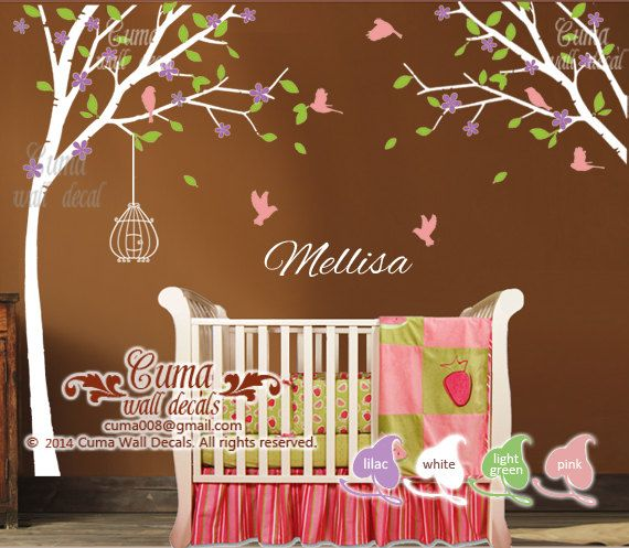 Nursery wall decal name decal Tree birds wall mural Kids Children wall decals- tree birdcage birds Z111 by Cuma