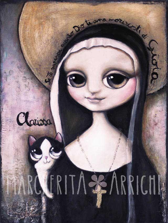 La suora con occhi grandi il gatto bianco e nero