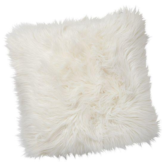 Furry White Throw Pillow