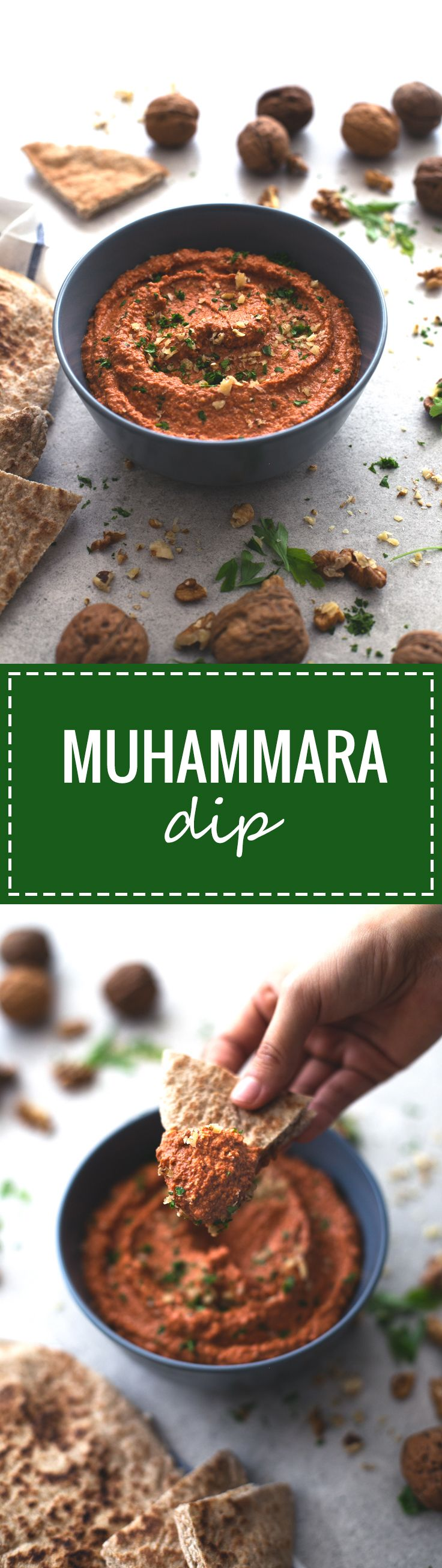 (Vegan and GF) Muhammara is a spicy Syrian red pepper and walnut dip. It's so tasty and is ready in less than 5 minutes, you just need to blend all the ingredients!