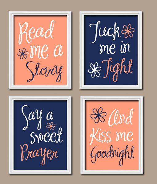 Navy Peach Nursery Read Me A Story Baby Girl Nursery by TRMdesign