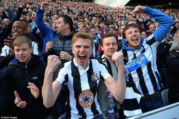 Newcastle supporters at St James' Park go wildly after boosting their hopes of playing Premier League football next season