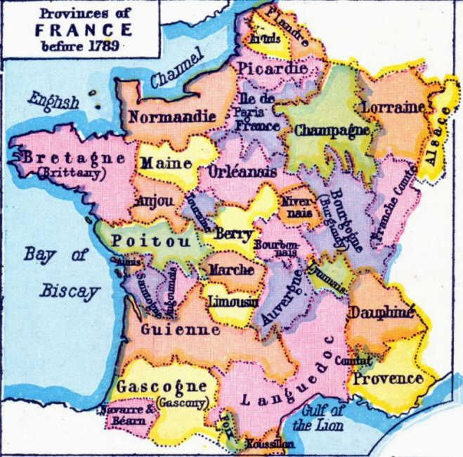 English Map Of France.France S Historical Provinces Before 1789 Old Map Of France My