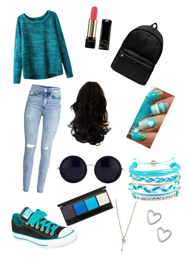 universidad #2 by ymerly15 on Polyvore featuring polyvore fashion style Chicnova Fashion H&M Converse Yves Saint Laurent Domo Beads The Row Topshop Lancôme clothing