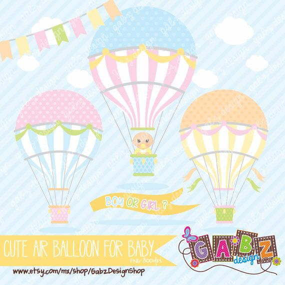 Cute Air Balloon for Baby Género a Revelar por GabzDesignShop, $5.00
