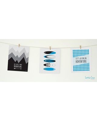 Lottie Coco - Surf Adventure - Kid You'll Move Mountains, Surfboards and Lets Go On An Adventure prints. Print pack for your nursery or childs room. These packs come with string and mini wooden pegs hanging kit. www.lottiecoco.co.nz