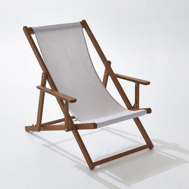 Chaise longue avec accoudoirs acacia huil pierre - Changer toile chaise longue ...