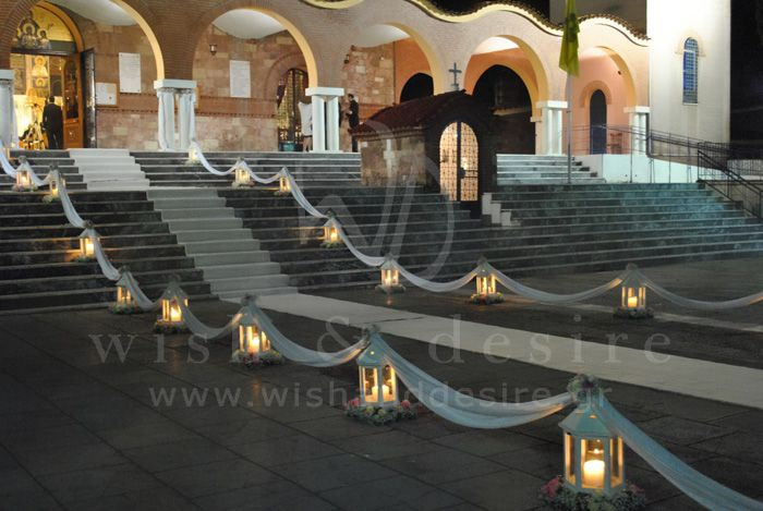#γαμος εξωτερικος στολισμος εκκλησιας με φαναρια