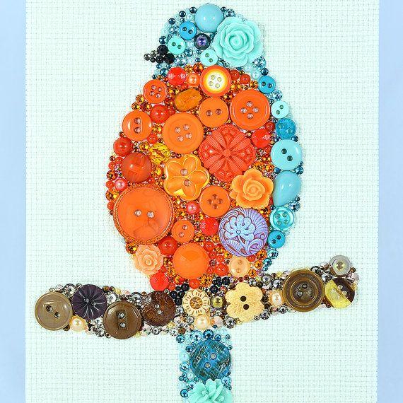Button Art  Orange Bird  Vintage Button Art by PaintedWithButtons