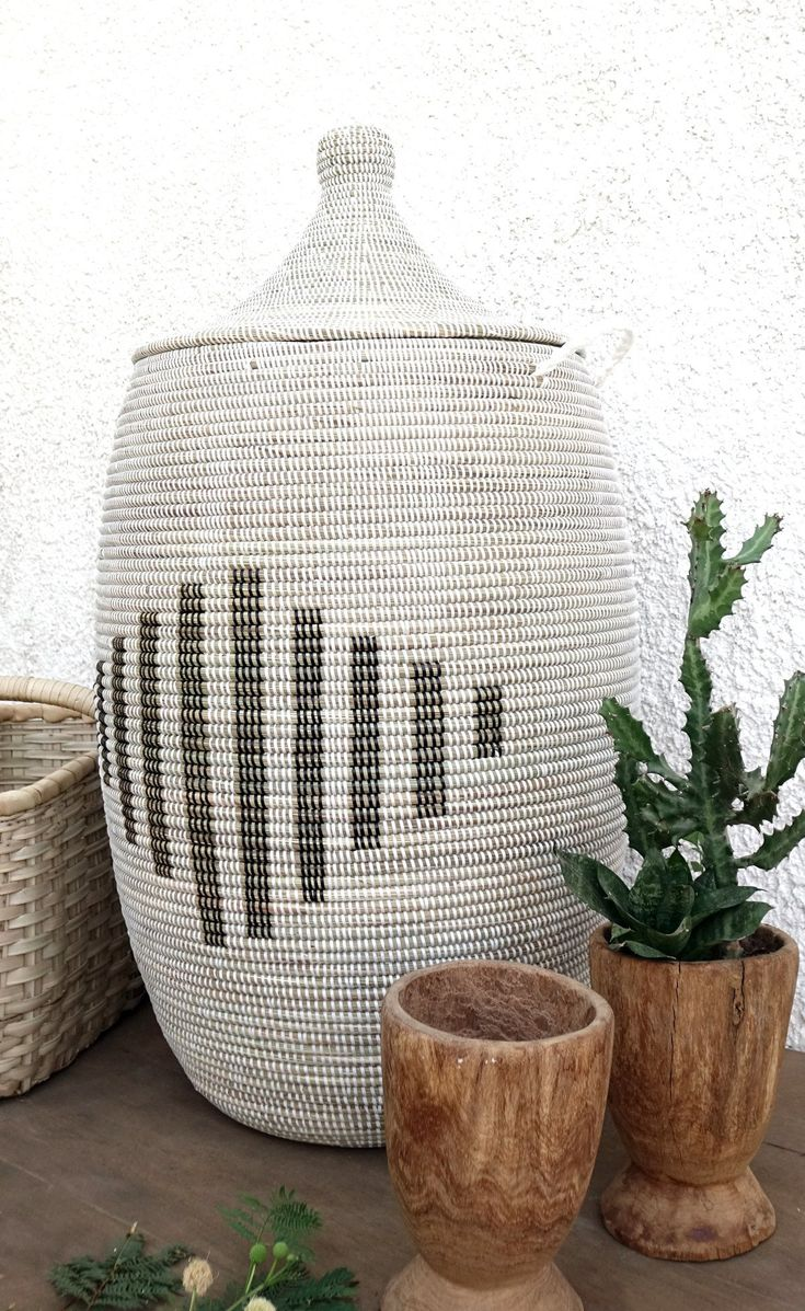 Extra Large Laundry Hamper In White With Black Line Patternis Extra  Large Basket Can
