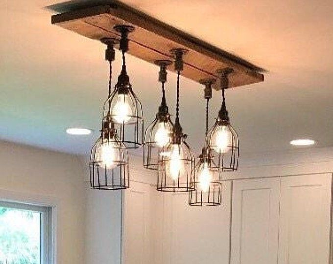 Rustic Reclaimed Barn Wood Farmhouse Industrial Cage Pendant