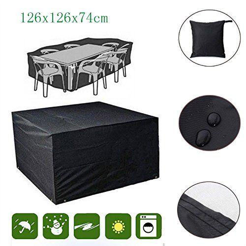 Kekexili Wasserdicht Garten M�bel Regen Abdeckung Gartenm�bel Schutzh�lle Shelter Tisch Stuhl f�r Gartentisch mit St�hlen-126x126x74cm