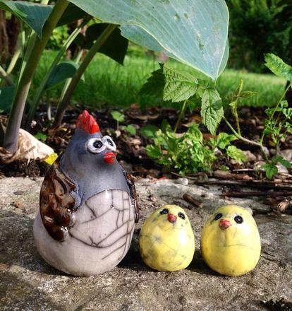 Poule rousse et ses poussins en céramique Raku ***DISPO A PARTIR DU 27/11***  : Accessoires de maison par fanfan-rouge-gorge