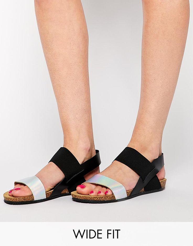 Image 1 ofNew Look Wide Fit Flash Black Footbed Sandals