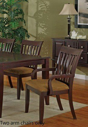 """Set of 2 Dining Arm Chairs - Cherry and Beige Finish by Poundex. $152.10. Some assembly may be required. Please see product details.. Dining and Kitchen. Dining and Kitchen->Seating->Wood Chairs. Set of 2 Dining Arm Chairs - Cherry and Beige Finish. You will receive a total of 2 dining arm chairs. Dimension: 24""""W x 25""""D x 39""""H Finish: Cherry / Beige Material: Wood / Microfiber Set of 2 Dining Arm Chairs - Cherry and Beige Finish Arm chairs are made of quality wood ..."""