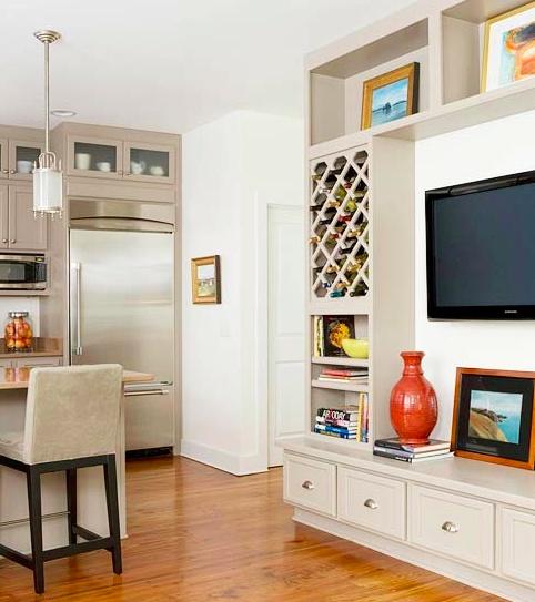 kitchen + family room open floor plan