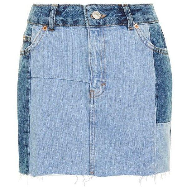 Women's Topshop Colorblock Denim Miniskirt ($60) ❤ liked on Polyvore featuring skirts, mini skirts, high waisted mini skirt, short skirts, high waisted denim skirt, topshop skirts and high-waist skirt