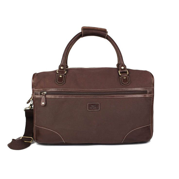 Bag brun canvas med bruna läderdetaljer The Monte 57097  1470 kr