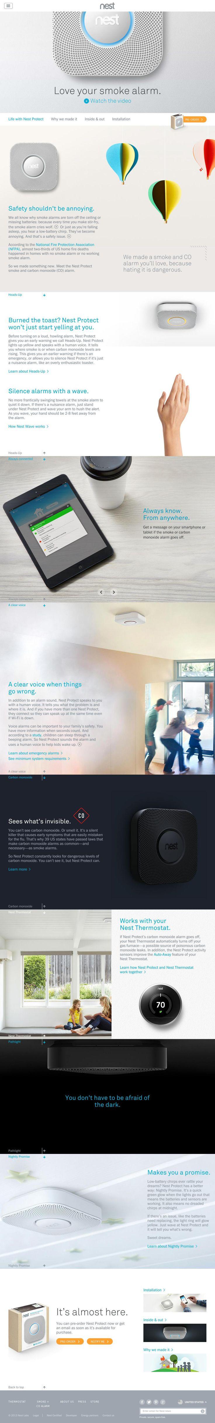 The website 'http://nest.com/smoke-co-alarm/life-with-nest-protect/' courtesy of @Pinstamatic (http://pinstamatic.com)