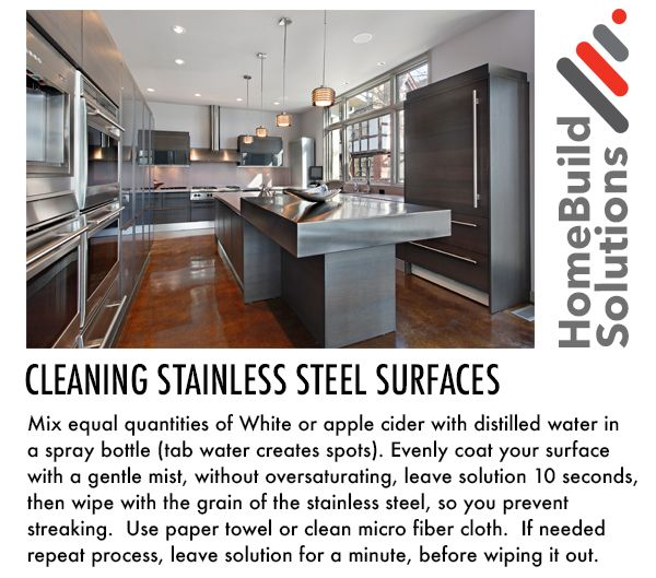 Tips on Cleaning Stainless Steel surfaces by www.homebuild.solutions