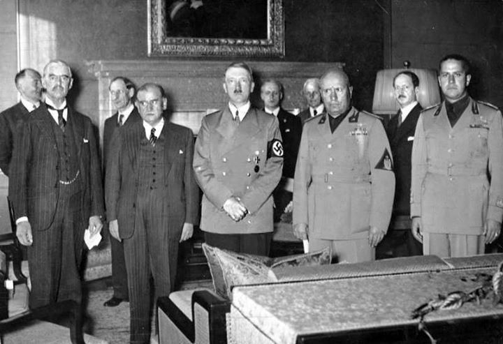 Chamberlain Daladier Hitler Mussolini and Ciano pictured just before signing the Munich Agreement 29 September 1938