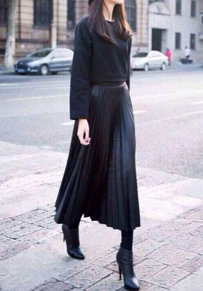 PU Midi Pleated Skirt-  Features Midi Length