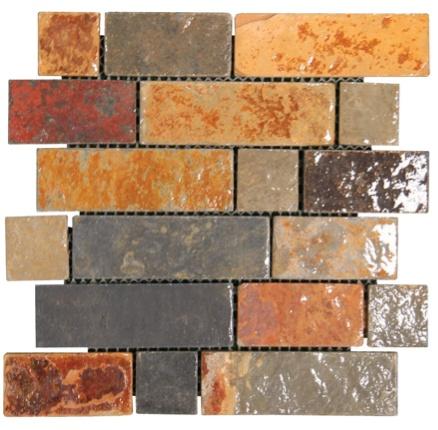 California Gold Slate Multi Color Brick Glass Tile Home