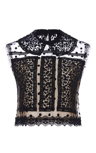 Dot Tulle And Chantilly Lace Sleeveless Top by COSTARELLOS for Preorder on Moda Operandi