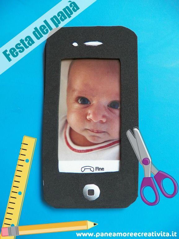 Dedicato a tutti i papà che amano i cellulari e la tecnologia, ecco un lavoretto da far fare ai bambini: il cellulare iPhone con la foto inclusa. Prendendolo in mano al papà sembrerà di parlare al telefono con il proprio bambino! Il materiale con cui ho lavorato è la gomma crepla, facile da tagliare e...
