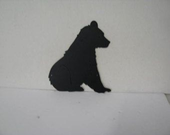 Bear Sitting Metal Wildlife Wall Yard Art Silhouette