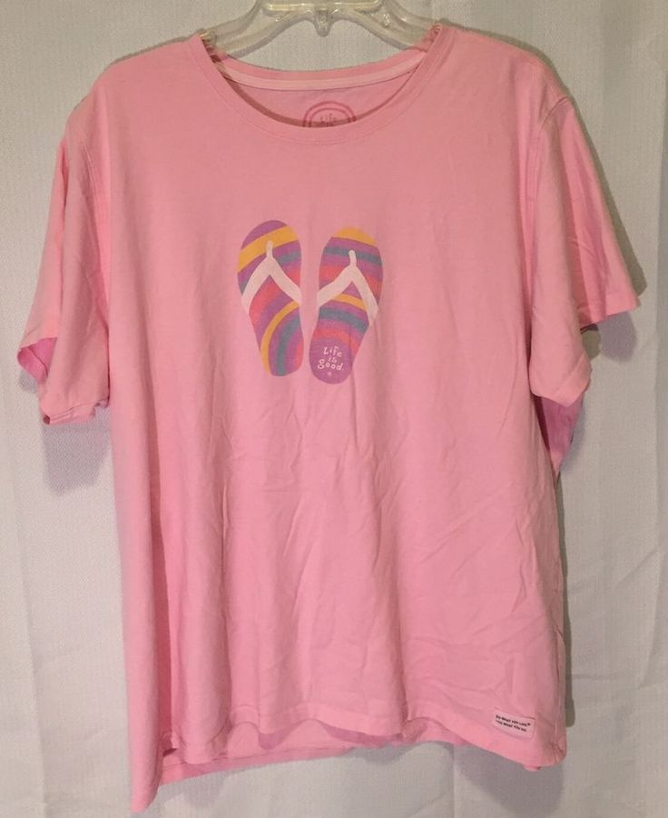 LIFE IS GOOD WOMENS  T- SHIRT SIZE XXL 100% Cotton Pink Short Sleeve Sandals  | eBay