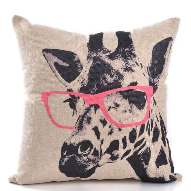 Giraffe Pink Glasses Pillow Cover