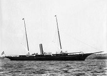 J. P. Morgan - J. P. Morgan's yacht Corsair, later bought by the U.S. Government and renamed the USS Gloucester to serve in the Spanish–American War. Photograph by J. S. Johnston.